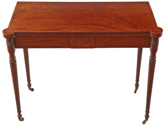 Antique quality Regency inlaid mahogany folding card tea console table