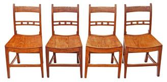 Antique set of 4 elm 19th Century Suffolk kitchen dining chairs