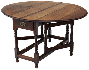 Antique Georgian oak gateleg drop leaf dining table