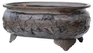 Antique large Oriental bronze vase bowl planter Japanese Chinese