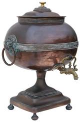 Antique Regency copper brass samovar tea urn pot brass bronze vase