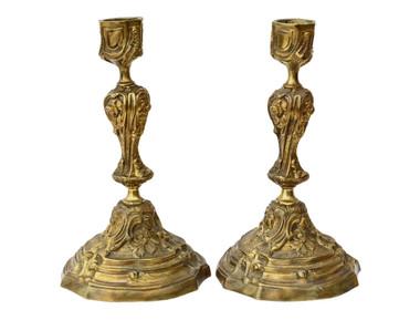 Antique pair of ormolu (gold on brass/bronze) candlesticks C1900