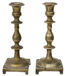 Antique near pair of 19th Century brass candlesticks