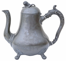 Antique Victorian 19th century pewter tea pot