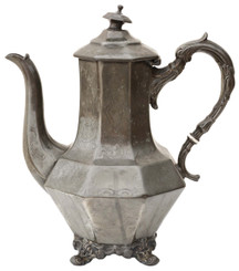 Antique early 20C century pewter tea pot