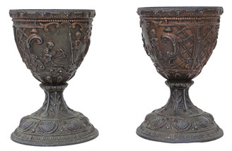 Antique pair of early 20th Century Gothic bronze goblets