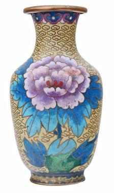 Antique mid 20th Century Chinese cloisonne vase