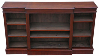 Antique quality large mahogany open bookcase adjustable shelves display