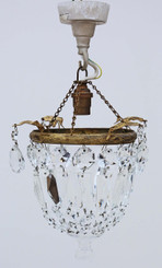 Antique quality small ormolu brass crystal chandelier FREE DELIVERY