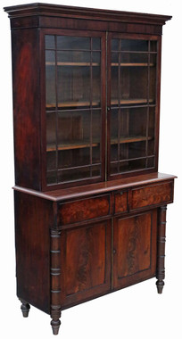Antique Georgian Regency mahogany secretaire bookcase desk writing