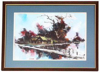 Framed oriental oil on board painting of 'Water Village' HS Yeung