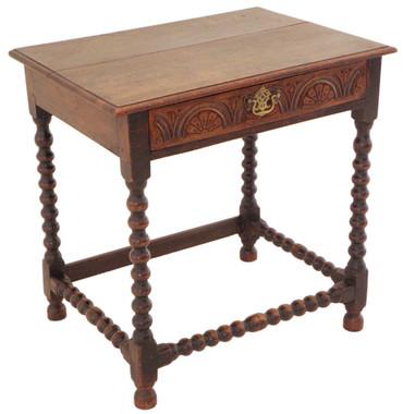 Antique Georgian 18th Century 18C oak lowboy side occasional table