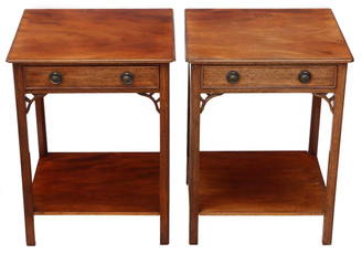 Antique pair of mahogany bedside tables cupboards cabinets lamp