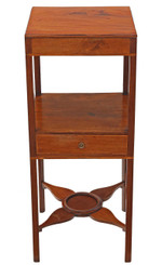 Antique Georgian C1800 mahogany bedside cupboard table cabinet washstand