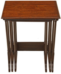 Antique early 20C nest of 3 oak side or occasional tables