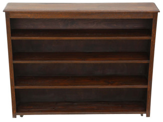 Antique large oak bookcase display shelves C1920