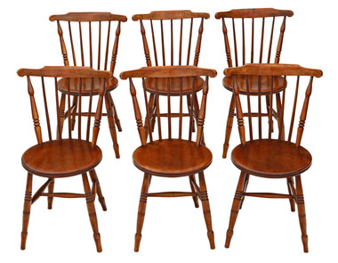 Antique set of 6 Victorian beech & elm penny Windsor kitchen dining chairs