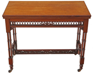 Antique quality Victorian mahogany folding card tea console table