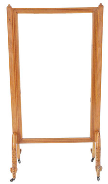 Antique large 19C Victorian maple and amboyna inlaid cheval mirror