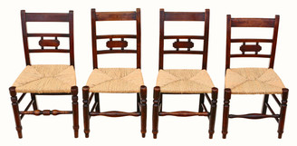 Antique mixed set of 4 elm 19th Century kitchen dining chairs