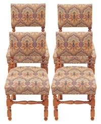 Antique set of 4 mahogany Cromwellian dining chairs oak cherry