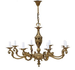 Antique 8 lamp brass ormolu chandelier FREE DELIVERY