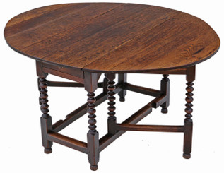 Antique large Georgian oak gateleg drop leaf dining table 5' x 4'
