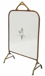 Antique Victorian brass cut glass fire screen