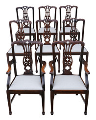 Antique quality set of 8 (6+2) Edwardian mahogany dining chairs C1910