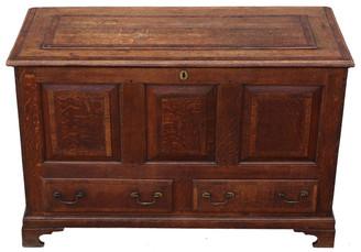 Antique George III C1770 crossbanded oak mule chest coffer blanket box