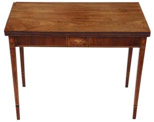 Antique Georgian C1800 inlaid mahogany folding card tea console table