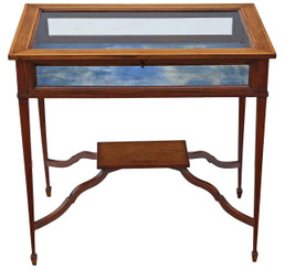 Antique Edwardian C1905 inlaid mahogany bijouterie display table