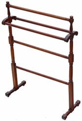 Antique Victorian C1880 mahogany towel rail stand