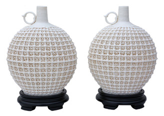 Antique quality pair of Oriental reticulated bottle vases