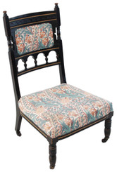 Antique 19C Victorian Aesthetic ebonised nursing parlour chair