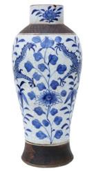 Antique large blue and white Chinese Oriental ceramic vase