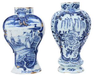 Antique matched pair 18th Century Blue & White Delft vases