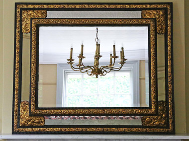 Antique Victorian ebonized / gilt cushion wall mirror overmantle Dutch