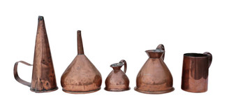Antique 4 Victorian copper measuring jugs and funnel