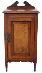 Antique Victorian C1890 walnut bedside table cupboard cabinet
