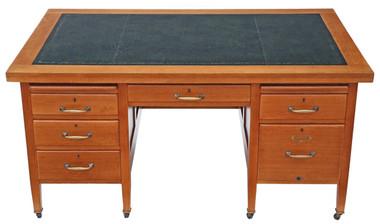Antique quality large oak twin pedestal desk 5' x 3'