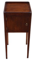 Antique Georgian mahogany tray top bedside cupboard table cabinet pot