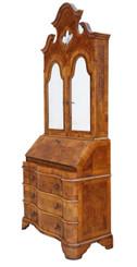 Antique Italian burr walnut bureau bookcase desk writing table