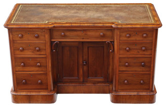 Antique fine quality Victorian yew twin pedestal desk or writing table