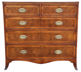Antique quality Georgian / Regency crossbanded burr walnut chest of drawers