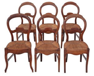 Antique set of 6 fruitwood 19th Century kitchen dining chairs