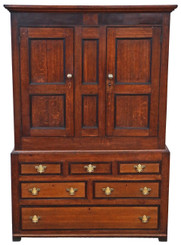 Antique Georgian C1800 oak wardrobe hall coat cupboard on chest