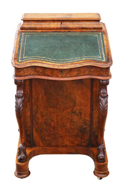 Antique quality Victorian C1870 burr walnut davenport writing table desk