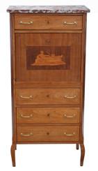 Antique light mahogany abbatant escritoire secretaire desk chest of drawers