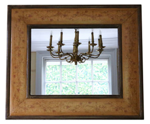 Antique William & Mary marquetry style overmantle or wall mirror